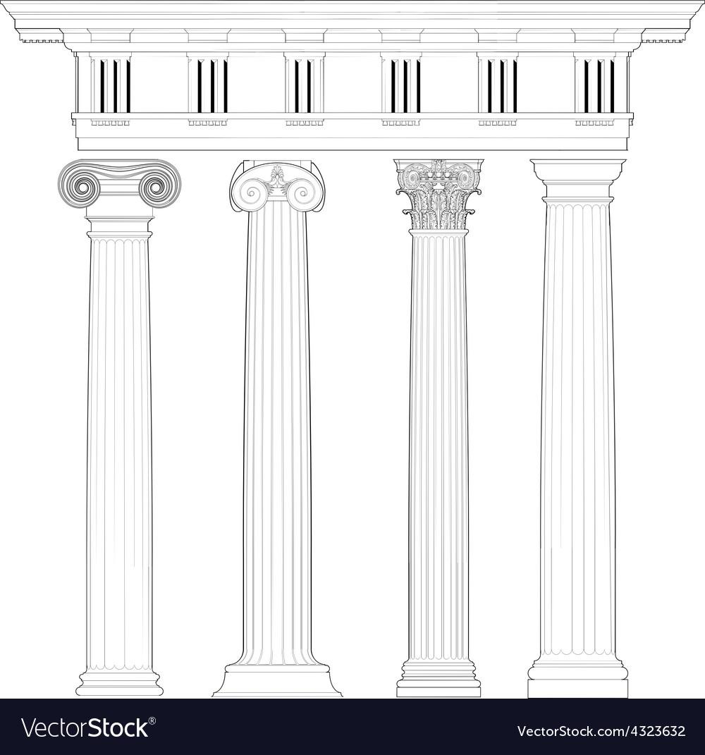 Classic columns set vector | Price: 1 Credit (USD $1)