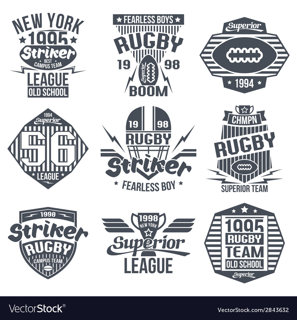 College team rugby retro vintage emblems vector | Price: 1 Credit (USD $1)
