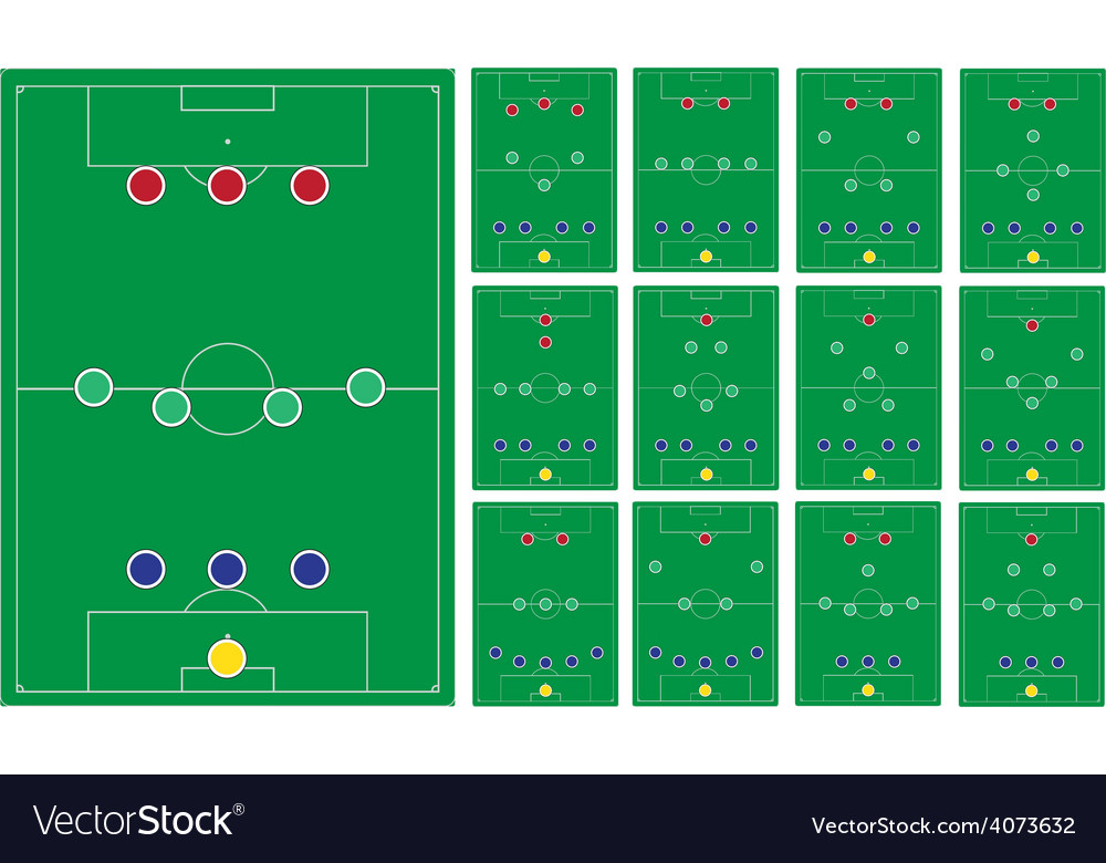 Common modern soccer formation set vector | Price: 1 Credit (USD $1)