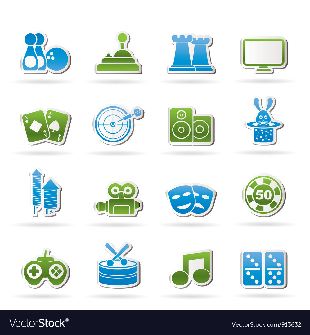 Entertainment objects icons vector | Price: 1 Credit (USD $1)