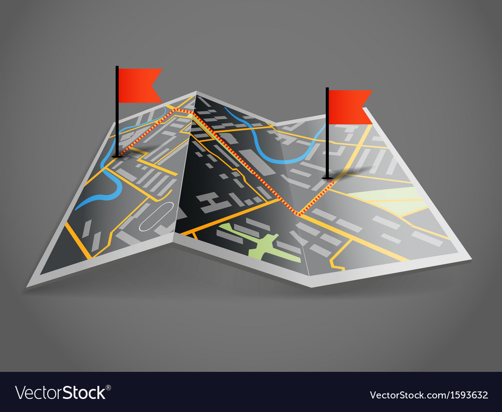 Folded abstract dark city map with flags vector | Price: 1 Credit (USD $1)