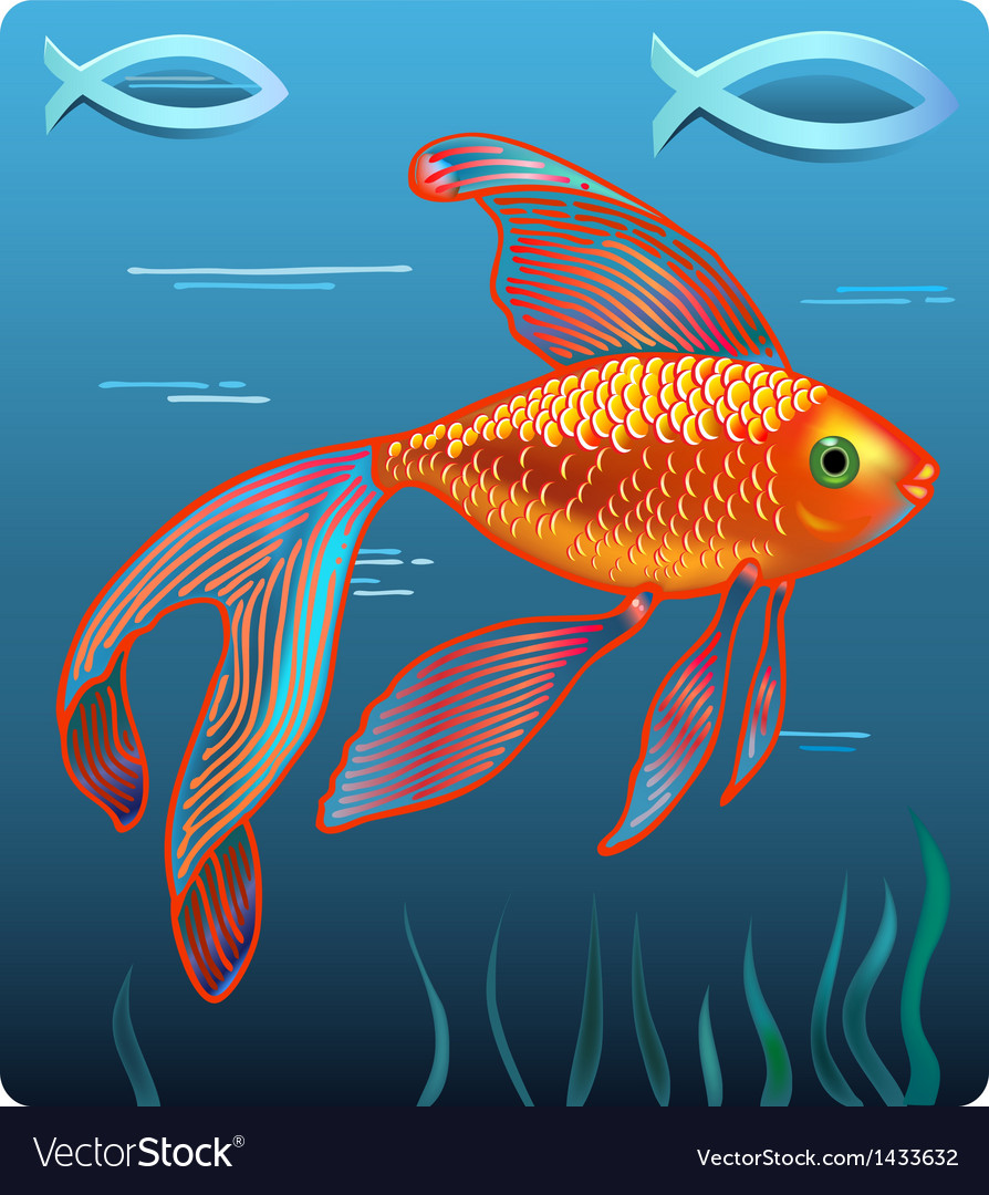 Golden jesus fish vector | Price: 1 Credit (USD $1)