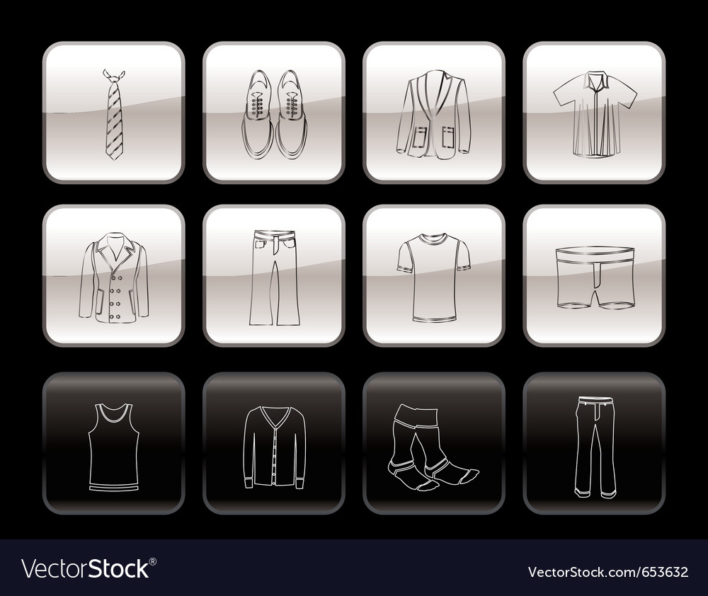 Man fashion and clothes icons vector | Price: 1 Credit (USD $1)