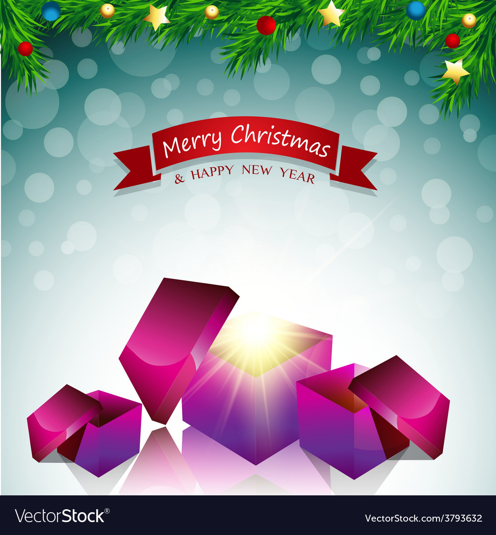 Merry christmas card surprise gift box vector | Price: 1 Credit (USD $1)