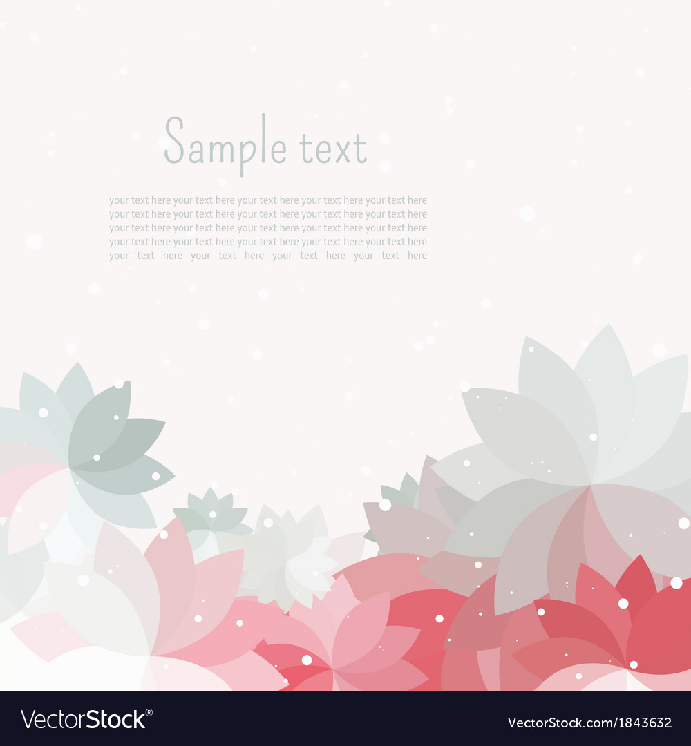 Postcard for text with gray pink white petal vector | Price: 1 Credit (USD $1)