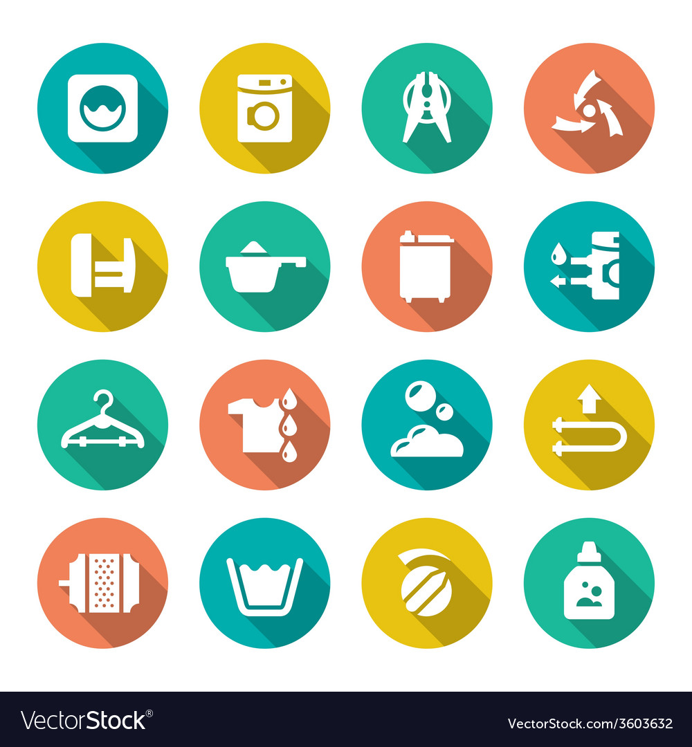 Set flat icons of laundry vector | Price: 1 Credit (USD $1)