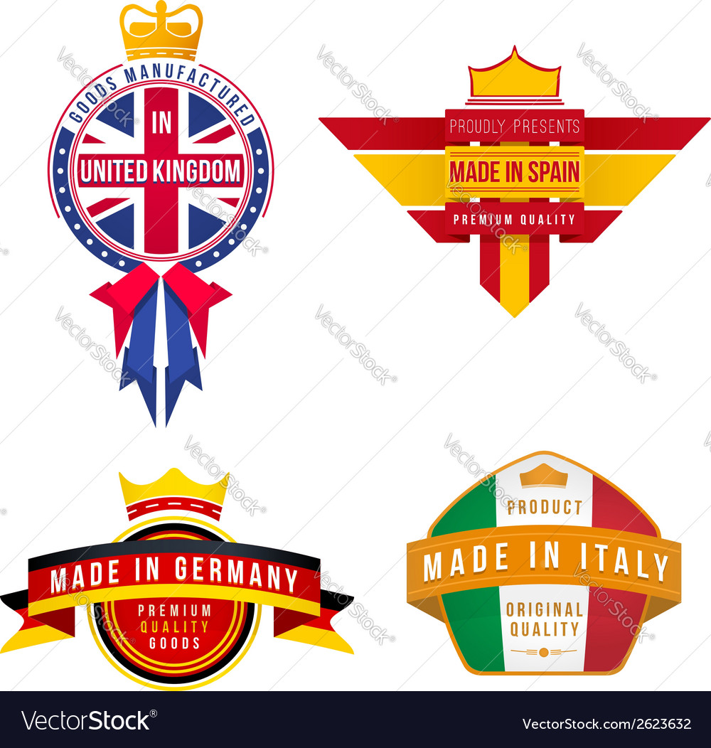 Set of made in united kingdom germany spain italy vector | Price: 1 Credit (USD $1)