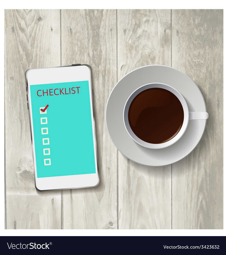 Smart phone with check list vector | Price: 1 Credit (USD $1)