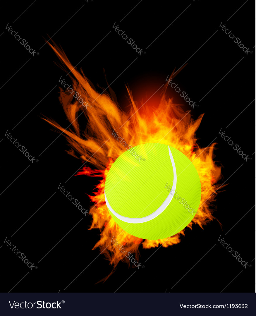 Tennis ball on fire vector | Price: 1 Credit (USD $1)