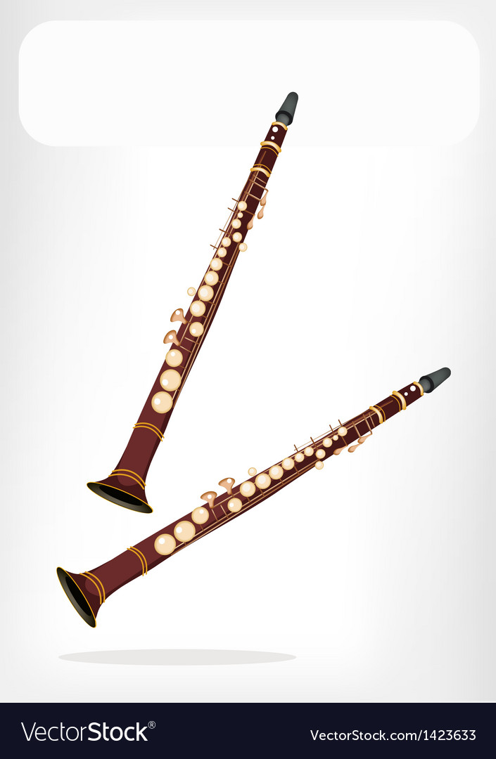 A musical clarinet with a white banner vector | Price: 1 Credit (USD $1)