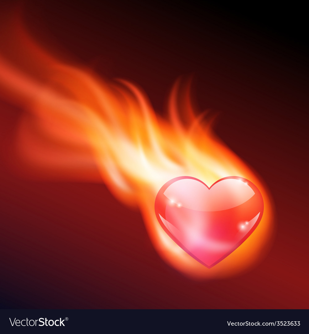 Abstract background with burning heart vector | Price: 1 Credit (USD $1)