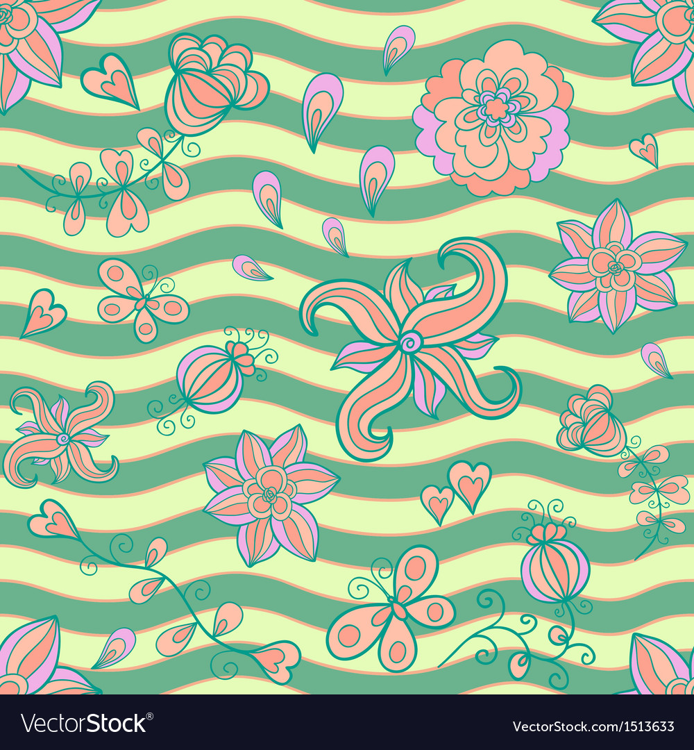 Abstract floral doodle seamless pattern vector | Price: 1 Credit (USD $1)