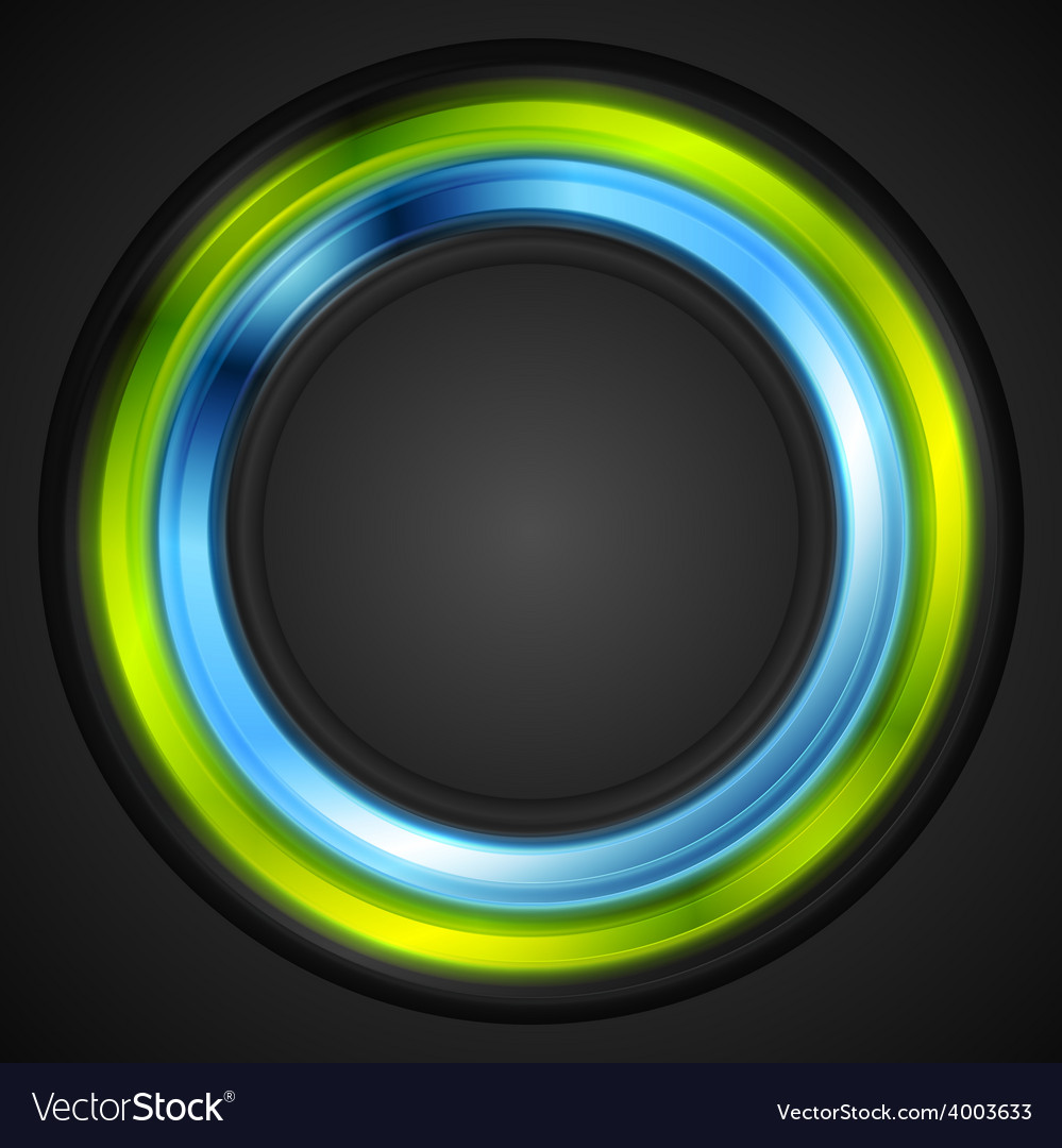 Blue and green glowing circle logo vector | Price: 1 Credit (USD $1)
