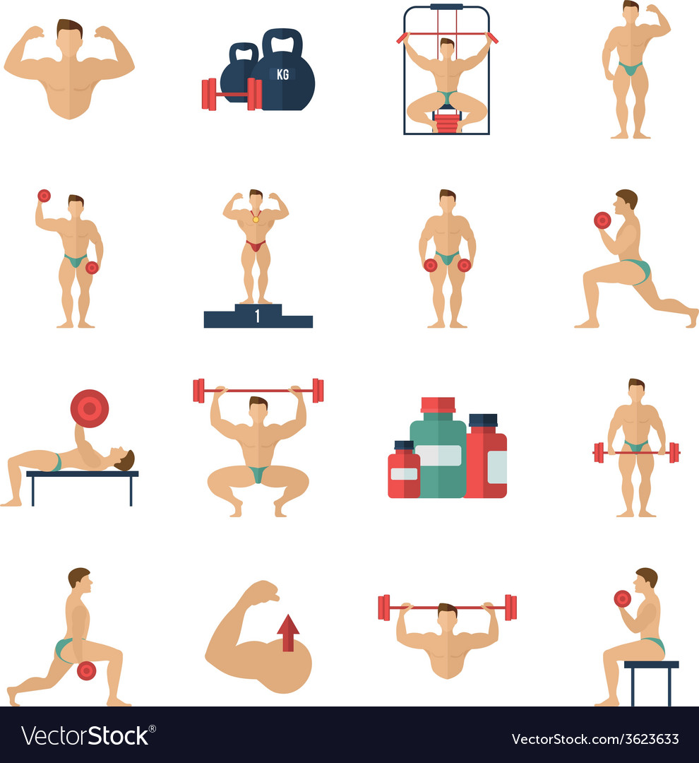 Bodybuilding icons set vector | Price: 1 Credit (USD $1)