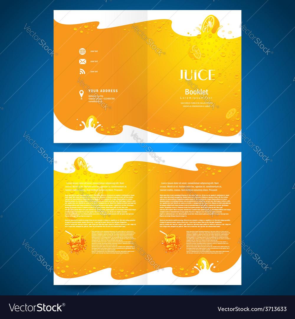 Brochure folder juice fruit drops liquid orange vector   Price: 1 Credit (USD $1)