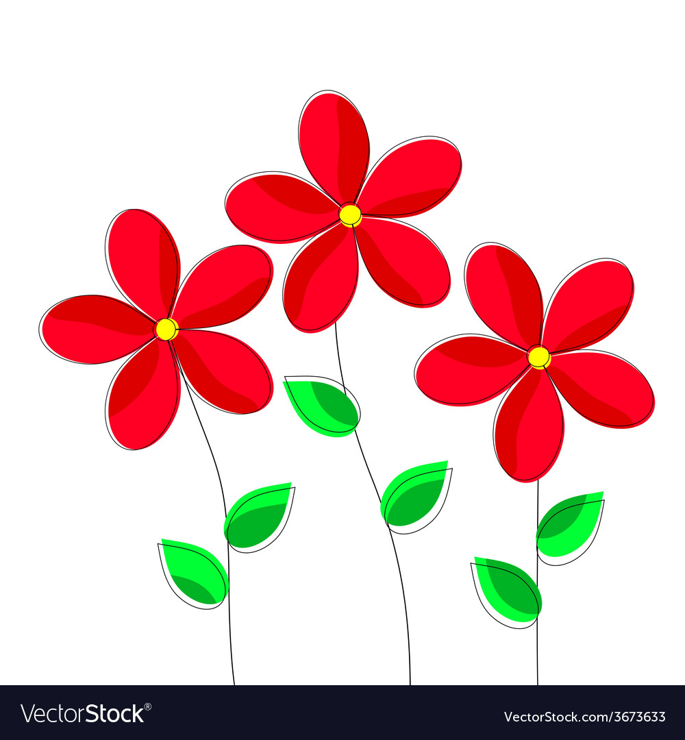 Cartoon red flowers on white background vector | Price: 1 Credit (USD $1)