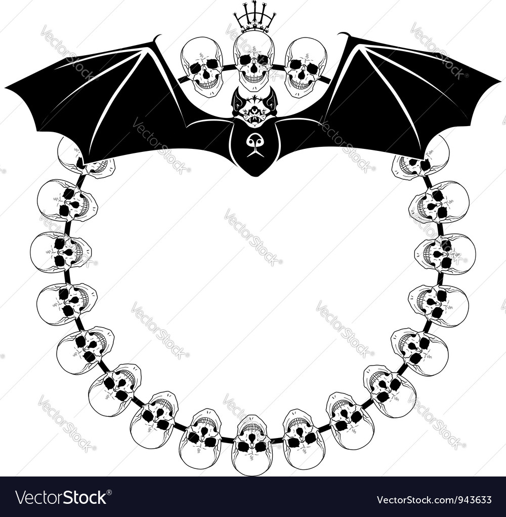 Deaths heads and bat vector | Price: 1 Credit (USD $1)