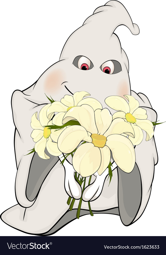 Ghost and bunch of flowers cartoon vector | Price: 1 Credit (USD $1)