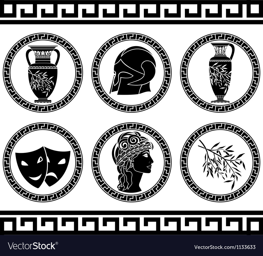 Hellenic buttons stencil fourth variant vector | Price: 1 Credit (USD $1)