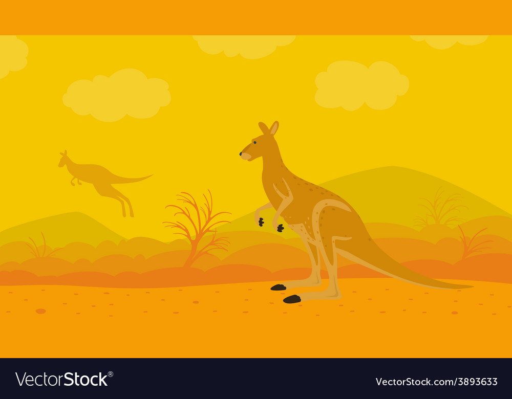 Kangaroo on the nature vector | Price: 1 Credit (USD $1)