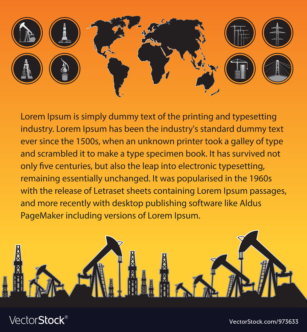 Map and oil rig vector | Price: 1 Credit (USD $1)
