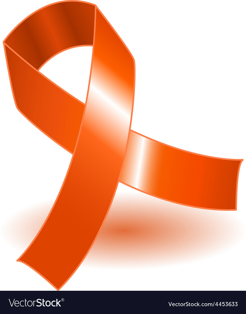 Orange awareness ribbon and shadow vector | Price: 1 Credit (USD $1)