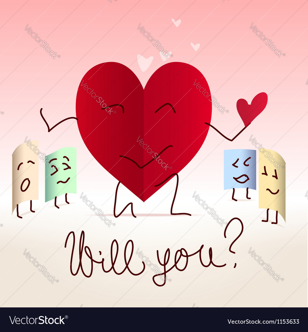 Paper heart shaped note proposal vector | Price:  Credit (USD $)