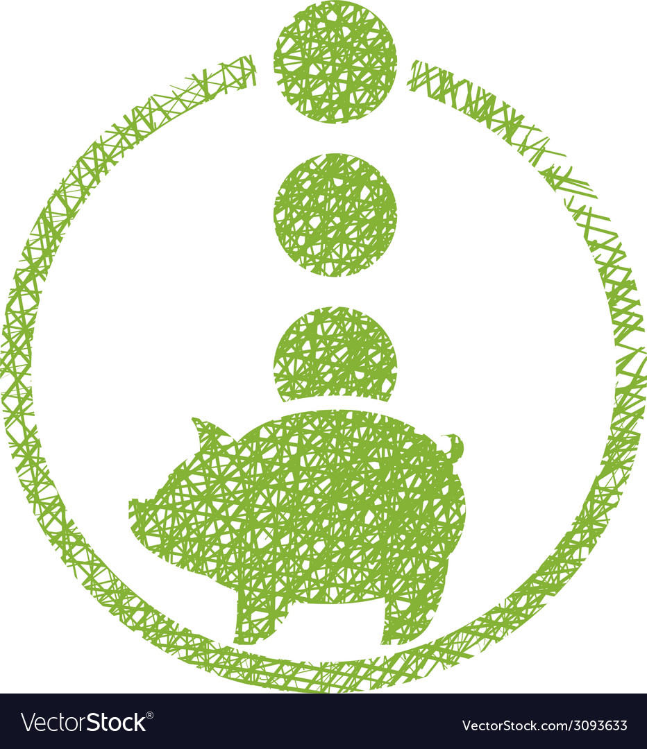 Piggy bank money icon with hand drawn lines vector | Price: 1 Credit (USD $1)