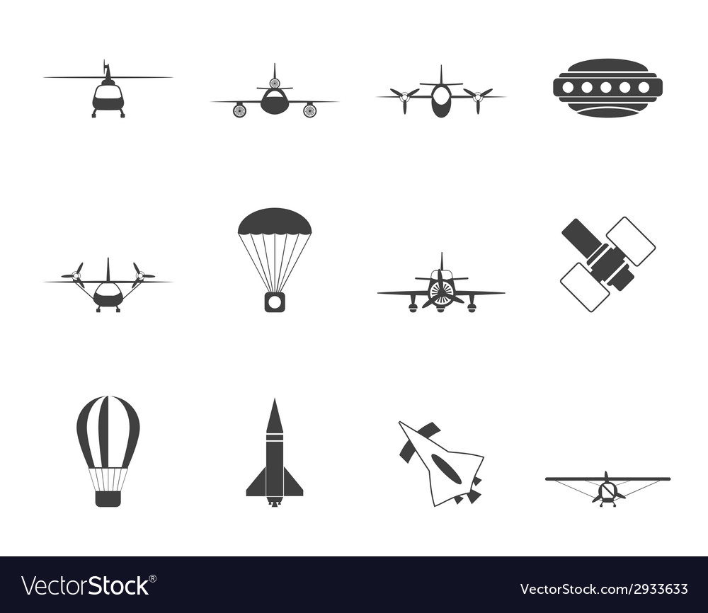 Silhouette aircraft and icons vector | Price: 1 Credit (USD $1)