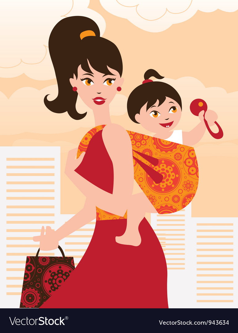 Active mother with baby girl in a sling vector | Price: 1 Credit (USD $1)