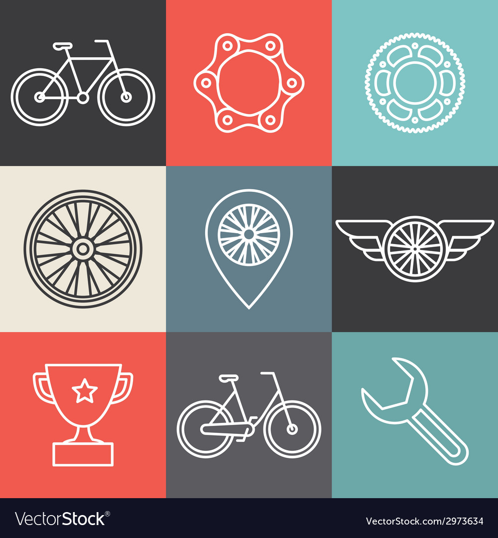 Bike outline emblems vector | Price: 1 Credit (USD $1)