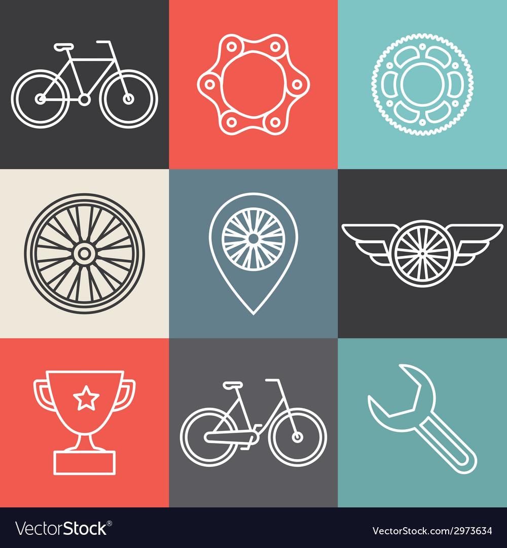 Bike outline emblems vector | Price: 1 Credit (USD $1)