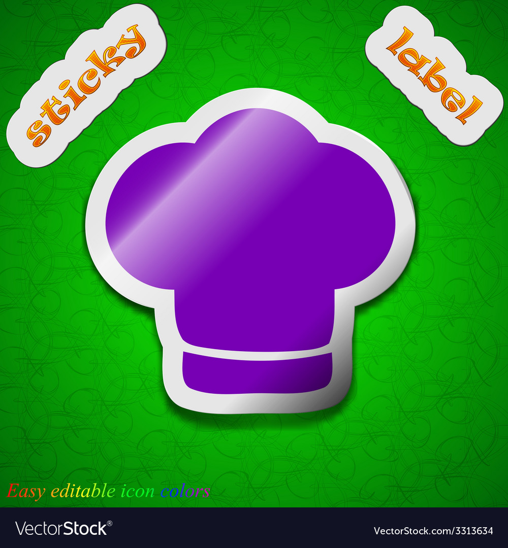 Chef hat icon sign symbol chic colored sticky vector | Price: 1 Credit (USD $1)