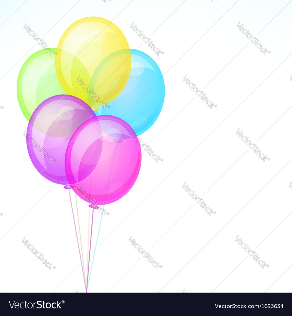 Five birthday celebration balloons isolated on vector | Price: 1 Credit (USD $1)