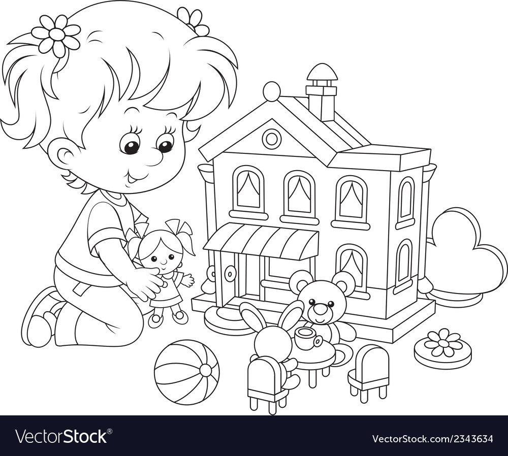 Girl with a doll and toy house vector | Price: 1 Credit (USD $1)