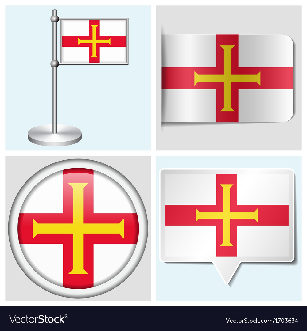 Guernsey flag - sticker button label flagstaff vector | Price: 1 Credit (USD $1)