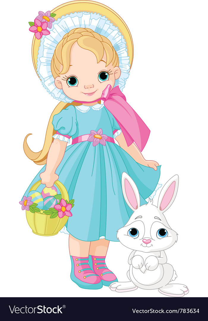 Little girl with easter rabbit vector | Price: 3 Credit (USD $3)