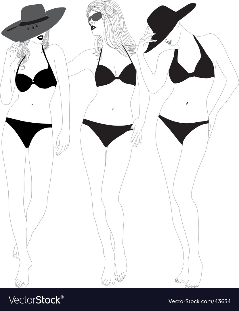 Models in bathing suits vector | Price: 1 Credit (USD $1)