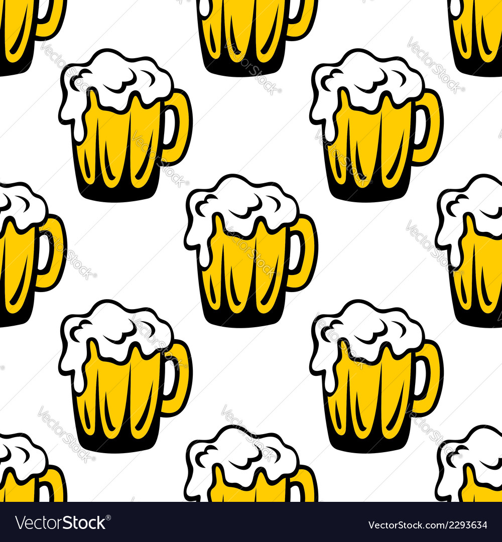 Pint of frothy beer seamless background pattern vector | Price: 1 Credit (USD $1)