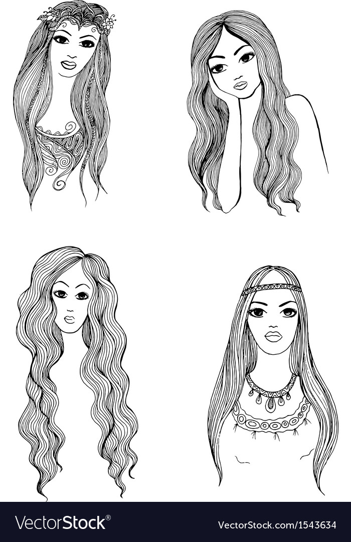 Set of hand drawn girl sketches vector | Price: 1 Credit (USD $1)