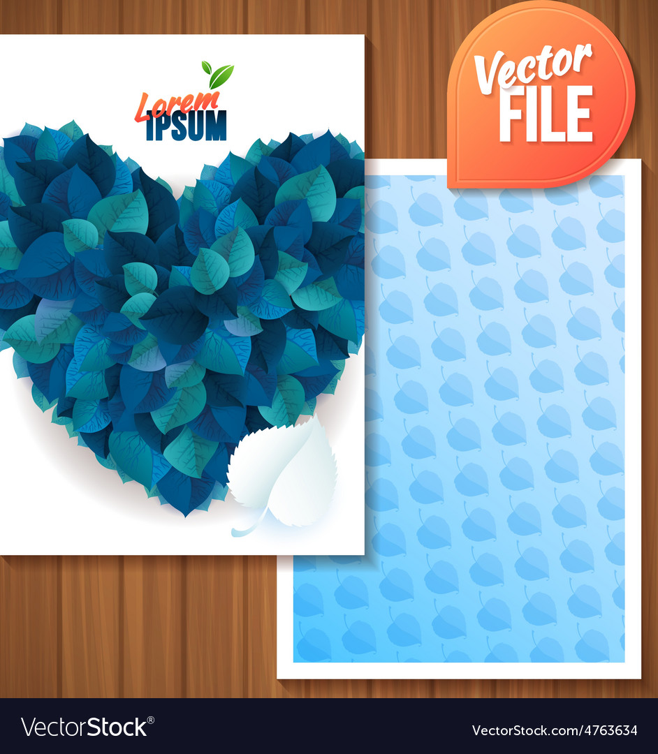 Spring backgroundcard with blue leaf heart vector | Price: 3 Credit (USD $3)