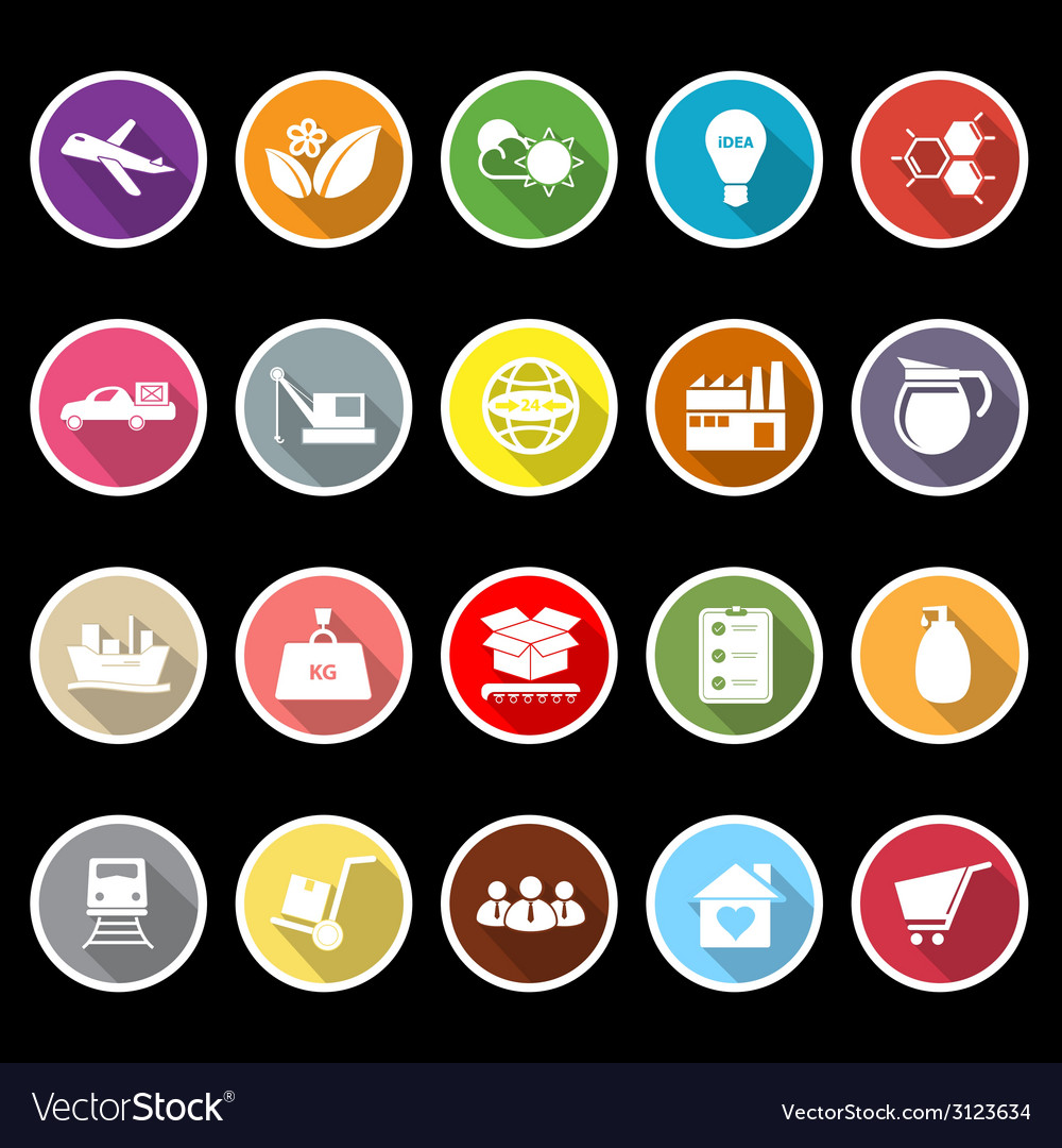 Supply chain and logistic flat icons with long vector | Price: 1 Credit (USD $1)