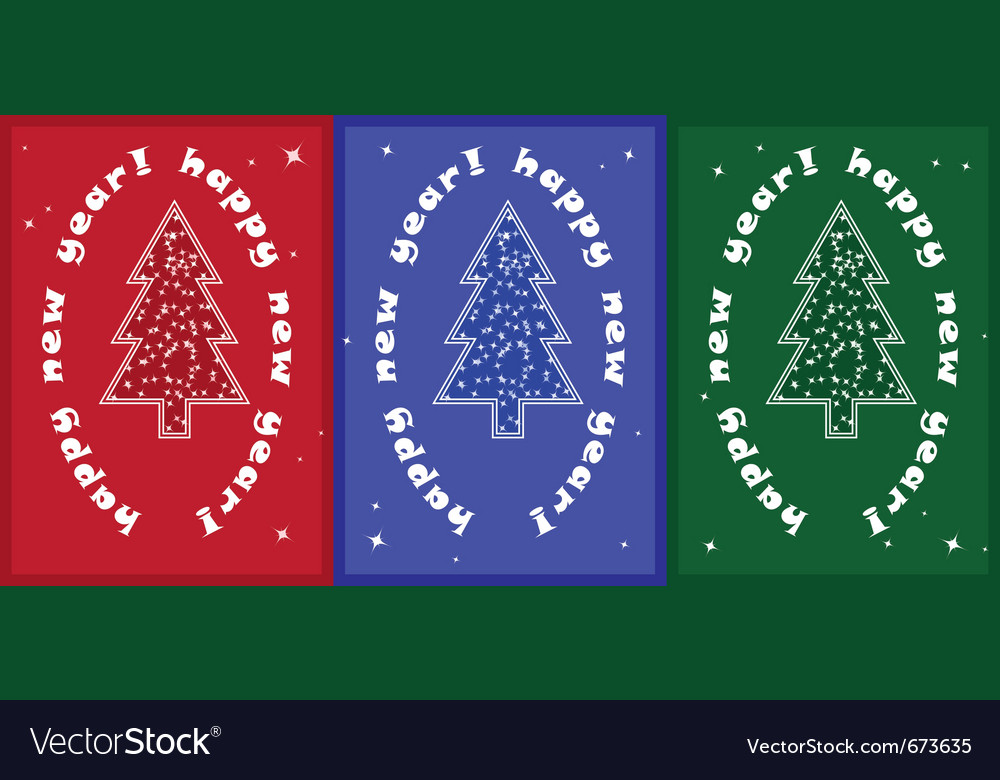 3 christmas tree card vector | Price: 1 Credit (USD $1)