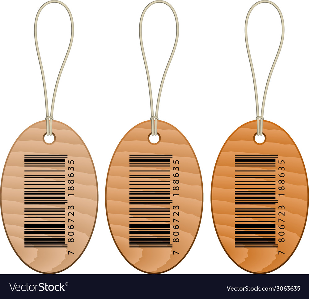Barcode wooden tags vector