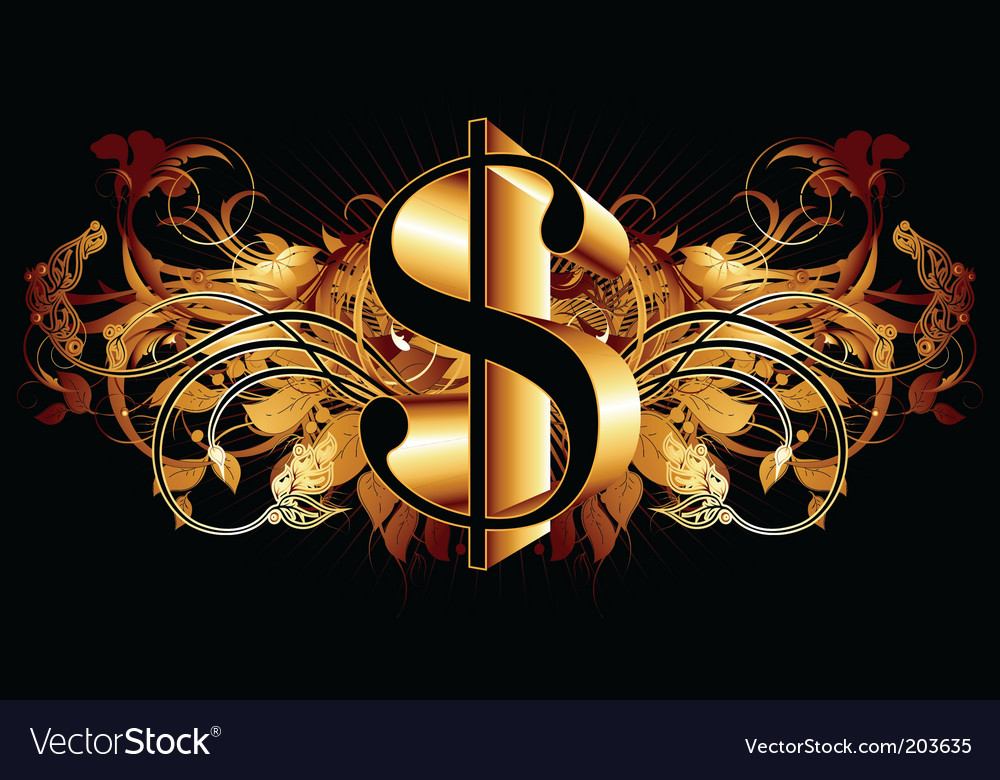 Dollar with ornate elements vector | Price: 1 Credit (USD $1)
