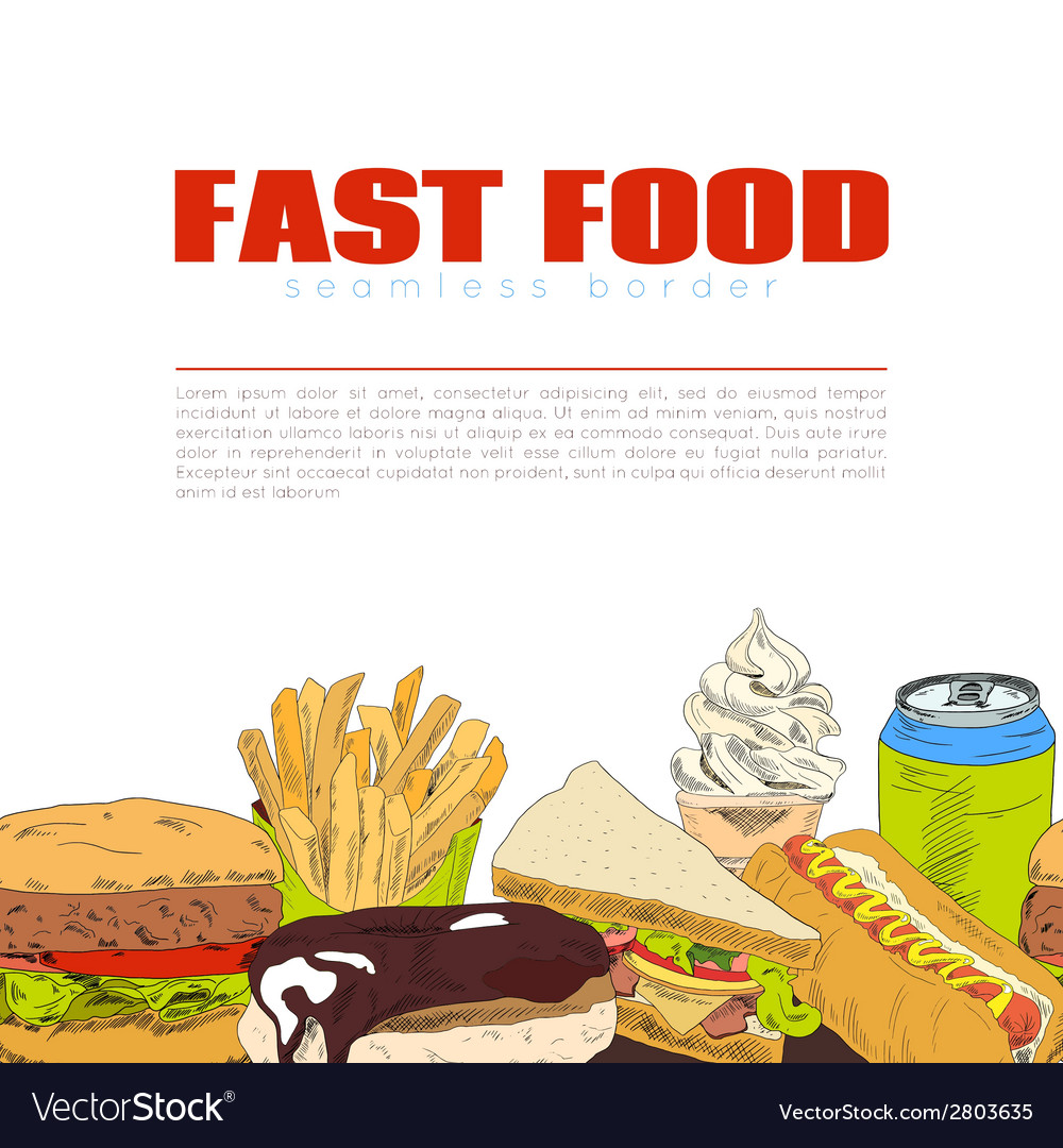 Fast food infographic seamless border banner vector | Price: 1 Credit (USD $1)