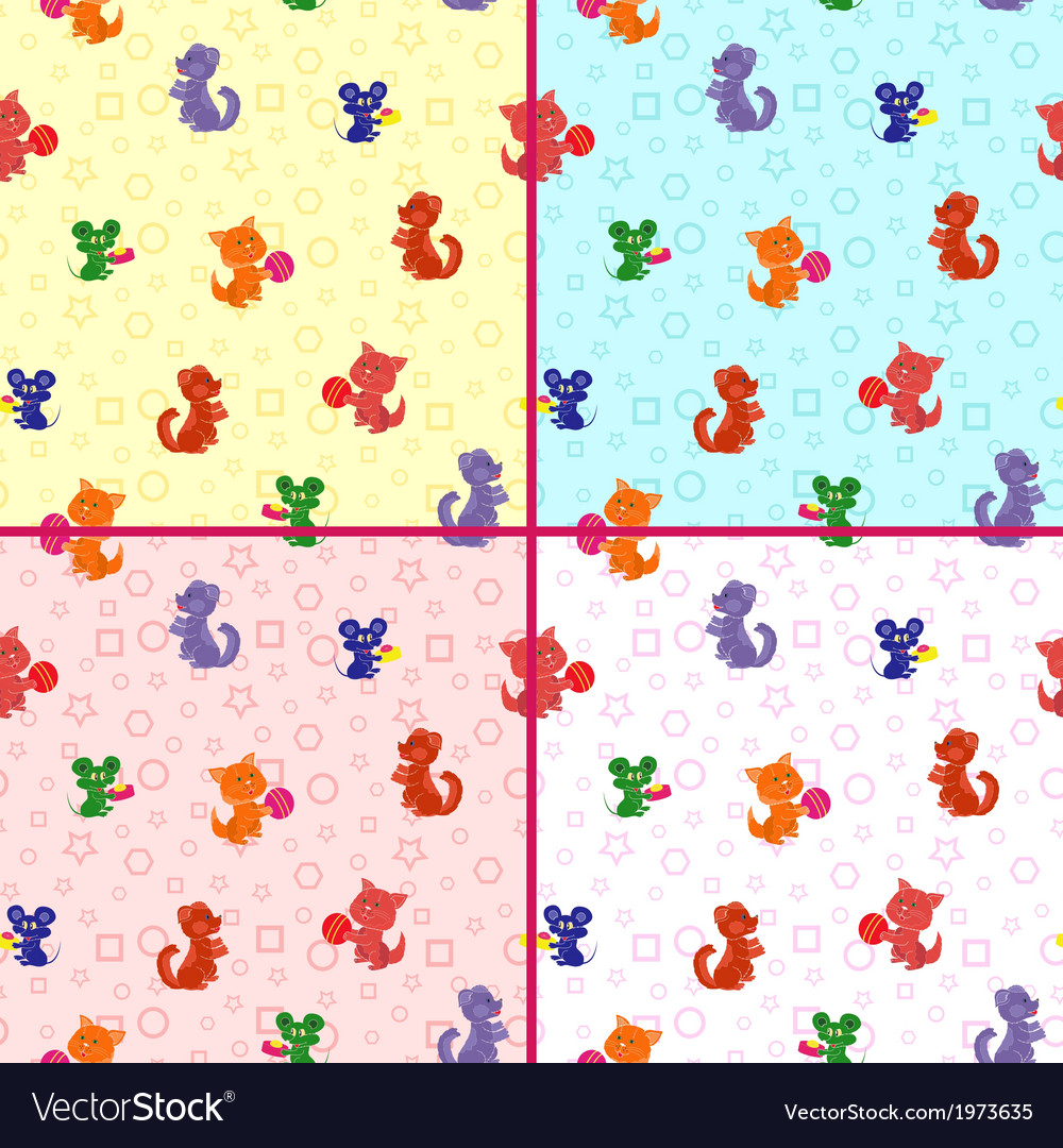 Four seamless patterns with animals vector | Price: 1 Credit (USD $1)