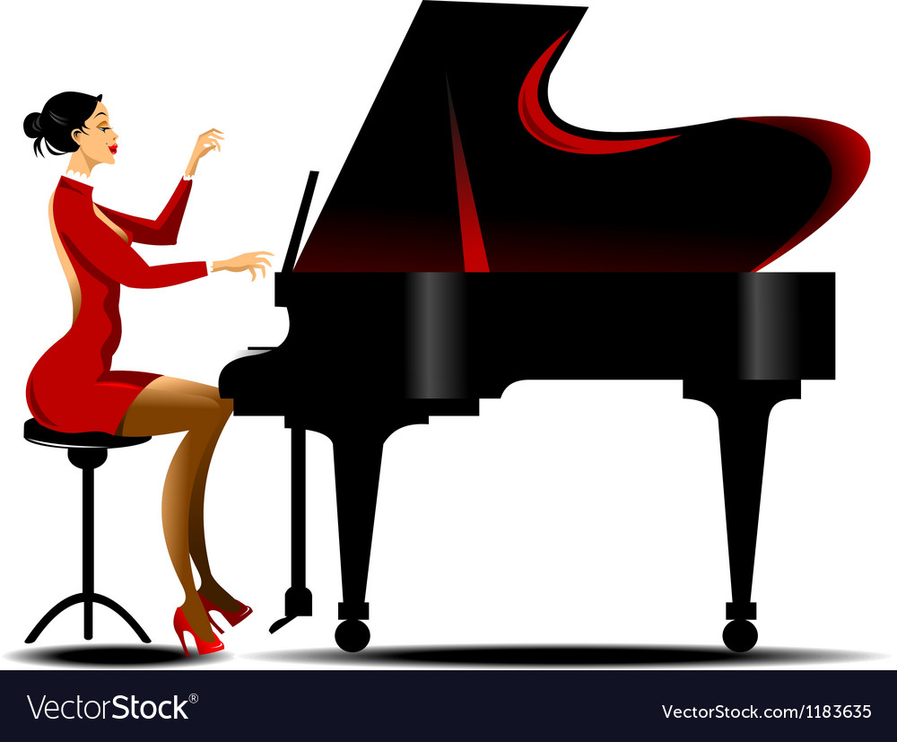 Girl playing piano vector | Price: 1 Credit (USD $1)