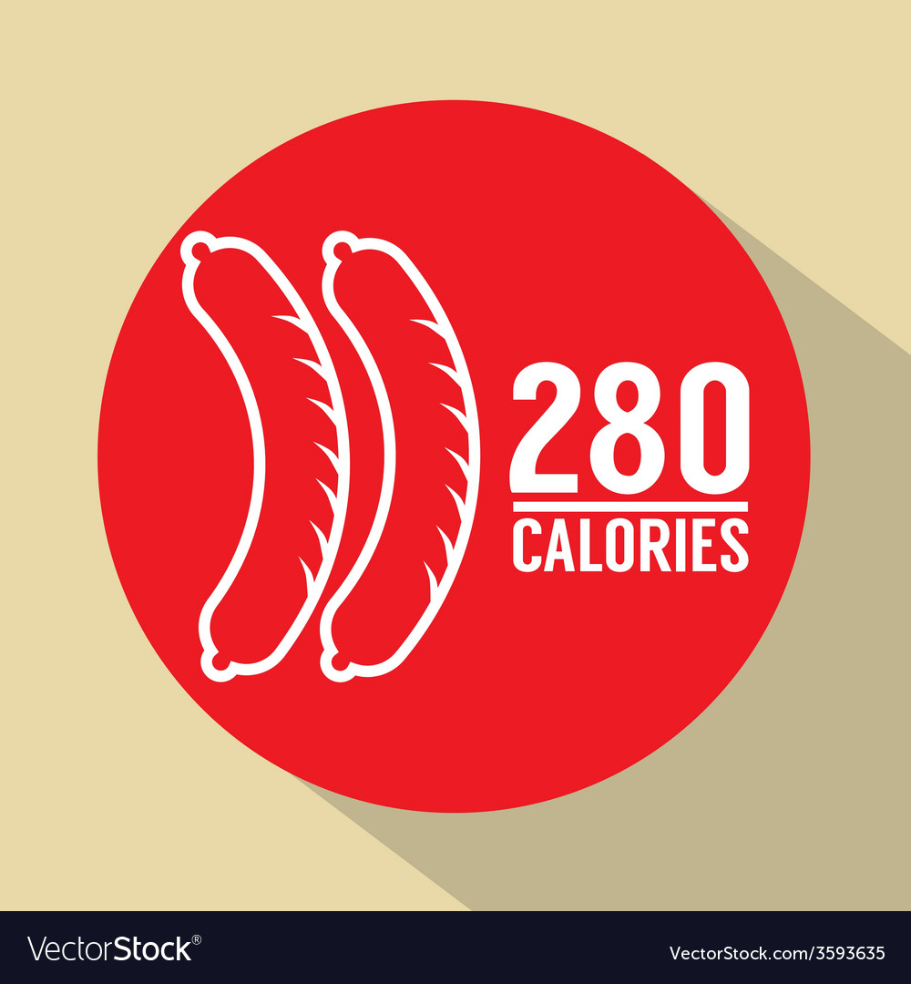 Hot dog 280 calories symbol vector | Price: 1 Credit (USD $1)