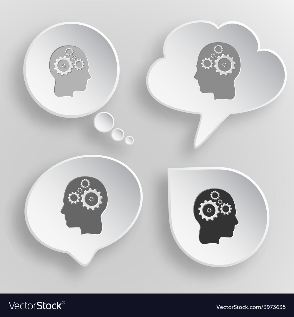 Human brain white flat buttons on gray background vector